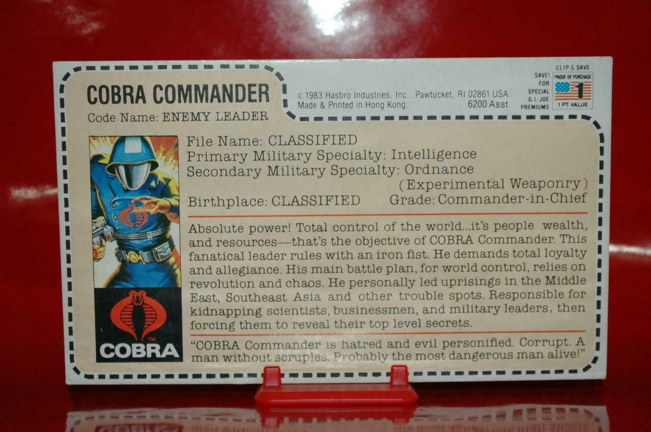 1983 Gijoe - Cobra Commander ( 6200 Full Uncut Filecard ) Sears   JcPenny Rare