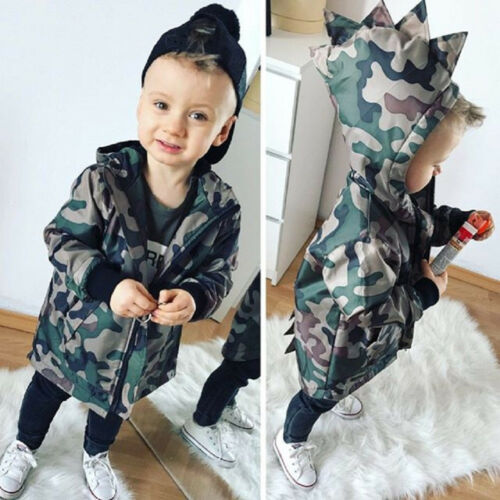 Kids Baby Boys Camouflage Hoodies Dinosaur Zip Hooded Jacket Coat Windbreaker GJ