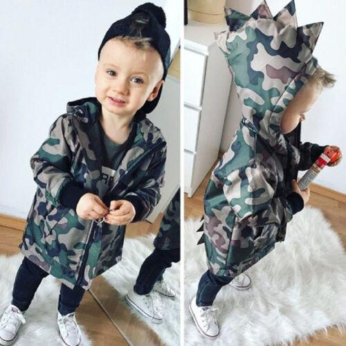 Kids Baby Boys Camouflage Hoodies Dinosaur Zip Hooded Jacket Coat Windbreaker GJ