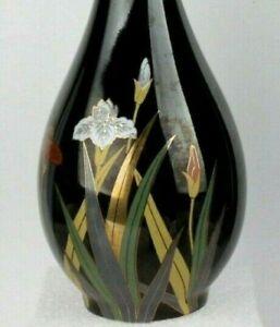 Otagiri-Vintage-Signature-Piece-Lotus-Floral-Design-8-034-Bud-Vase-Black-Gold-Trim