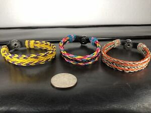 3-Handmade-Hitched-Horse-Hair-Bracelets-Made-In-Montana-State-Prison-Collectible
