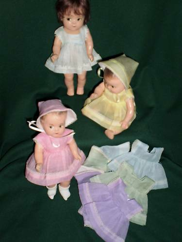 "Set 5 dresses DIONNE QUINTUPLETS 11/"" doll Quints made w// Vintage look organdy"