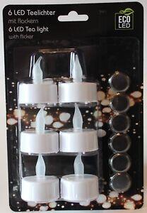 Teelichter-LED-mit-flackern-6er-Set-inkl-Batterien-Weihnachten-NEU