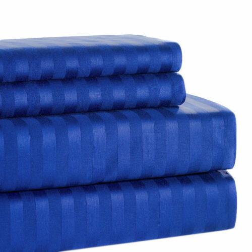 Cotton Egyptian Blue Striped 8,10,12,15 Inch Deep Pkt Bedding Items 1200 TC Egy