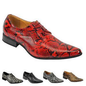 Mens-Leather-Lined-Snake-Skin-Print-Shiny-Patent-Leather-Smart-Party-Retro-Shoes