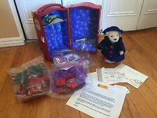 NABCO MUFFY VANDERBEAR STEIFF RARE RED TRAVEL TRUNK 3 OUTFITS MINT