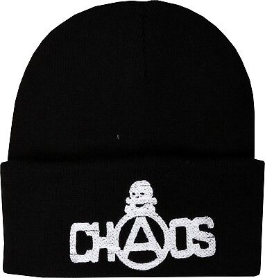 CHAOS SEDITIONARIES EMBROIDERED BEANIE HAT WINTER SKULL ORIGINAL PUNK ROCK 1977