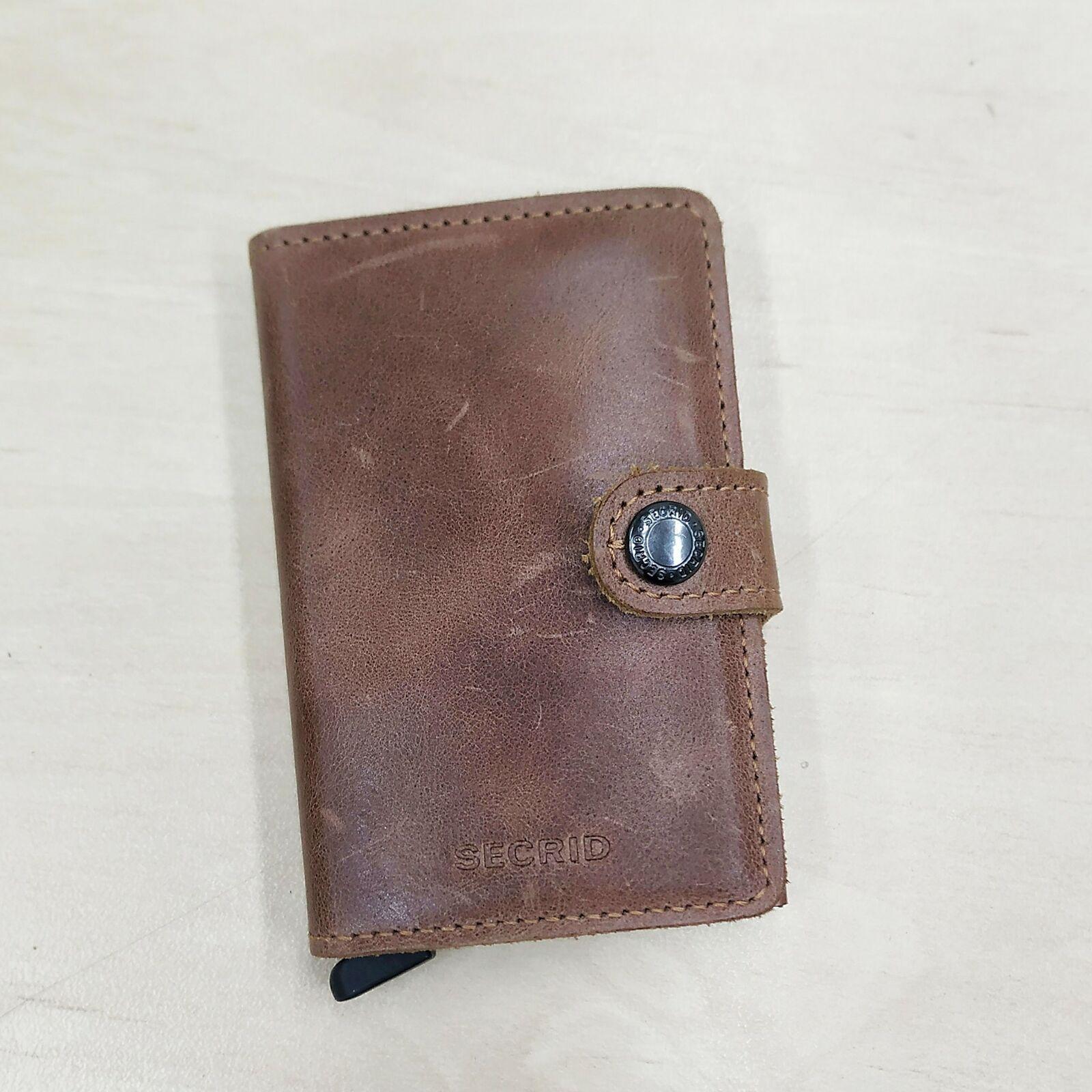 Secrid Mini Wallet Genuine Leather Cognac Rust RFID Safe Card Case 12 Card