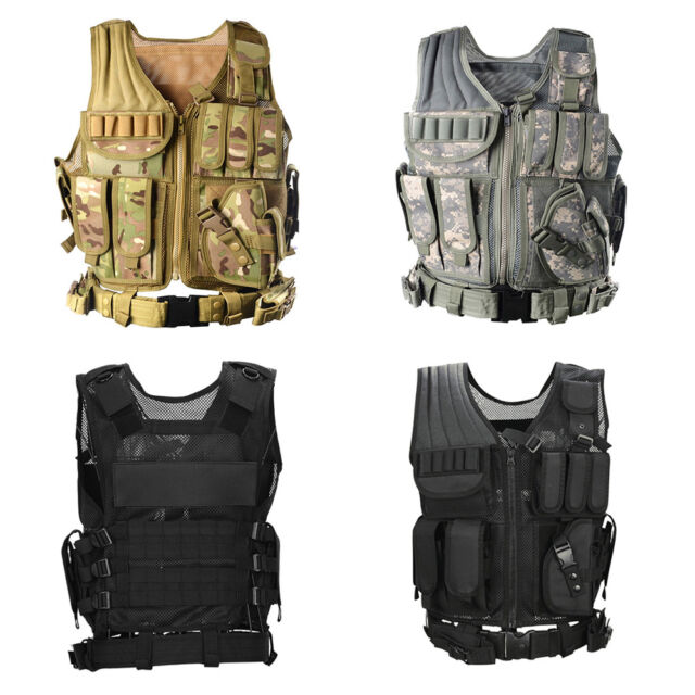 BLACK ARMY GREEN Tactical Military Waistcoat Combat Battle Plate Carrier Vest