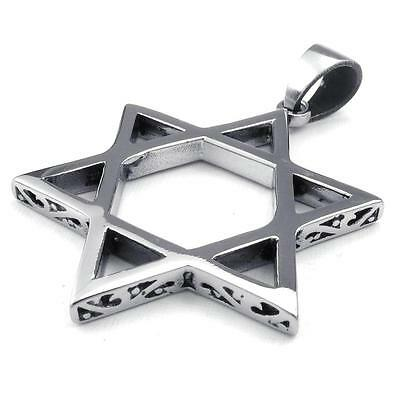 Mens Stainless Steel Pendant Necklace Chain Gothic Lucky Star of David Silver