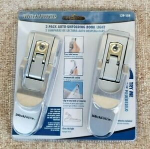 New-WORKFORCE-Reading-LED-BOOK-LIGHT-2-Pack-Auto-Unfolding-CLIP-ON-Long-Lasting