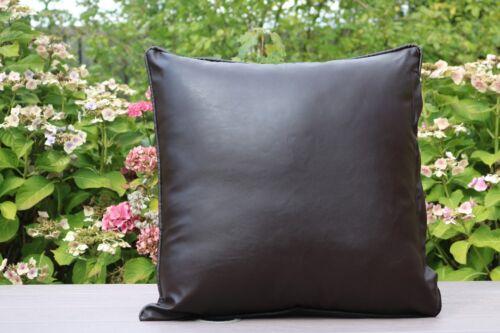 """Nuevo X2 marrón cuadros Imitación Cuero Clásico Cushion Covers 17/'/'X 17/"""" Almohadas de dispersión"""