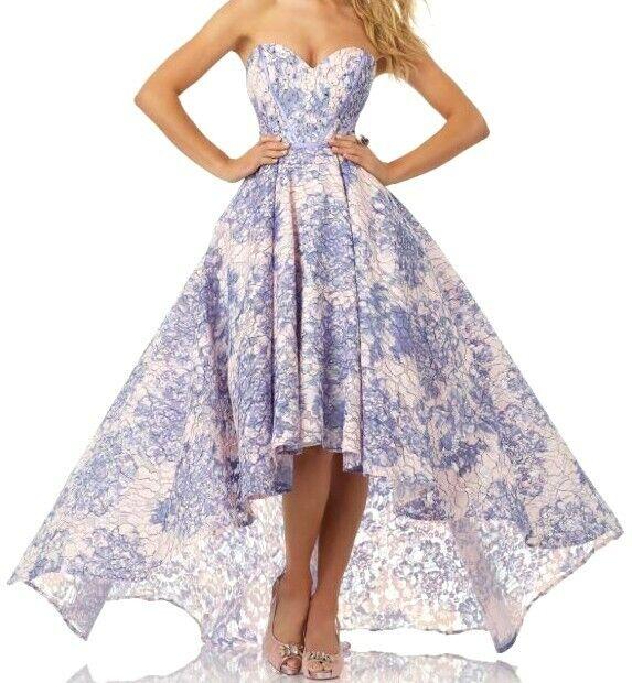 Morilee Purple Floral Lace Prom Dress Hi-Low Sweetheart #99027 Sz 00 *NEW!
