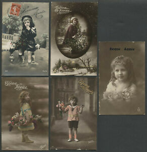 Five-c-1910s-French-RPPC-Photo-Postcards-BONNE-ANNEE-NEW-YEAR-Children-Girls