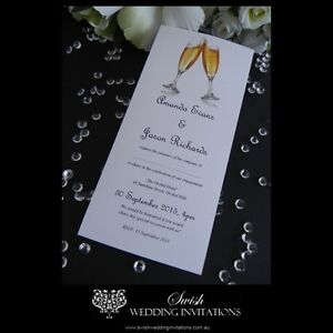 Details About Champagne Toast Wedding Or Engagement Invitations Invite Samples