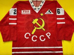 Team-CCCP-Arturs-Irbe-Game-Worn-Issued-Jersey-Russia-San-Jose-Sharks-NHL