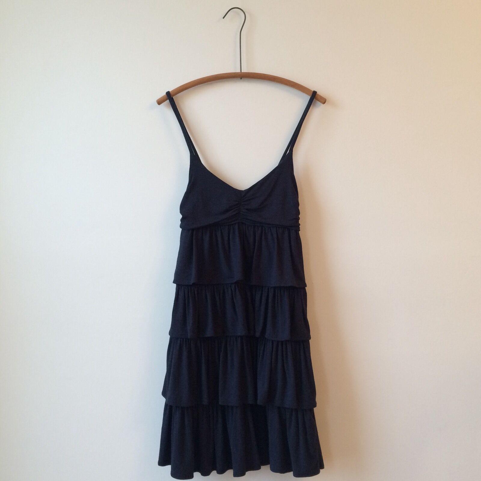 J. Crew Heather Slate bluee Modal Jersey Ruffle Tiered Strappy Dress Sz S PERFECT