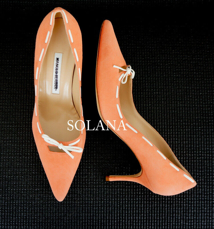 Manolo Blahnik Salmon rose Suede Pointed Toe blanc Bow Design chaussures Pump 39 New