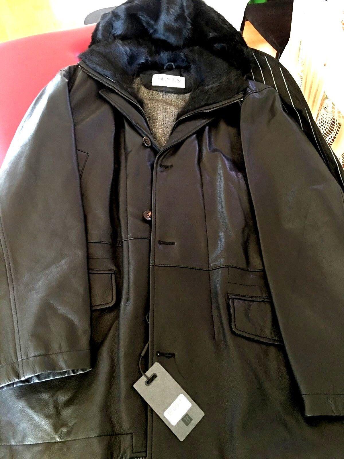 NEW BALMAIN Leder Coat Parka with removable hood