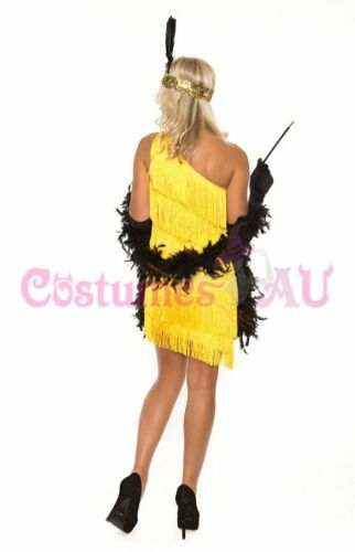 1920s 20s Flapper Charleston Fancy Dress Costume Yellow Gatsby Necklace Boa