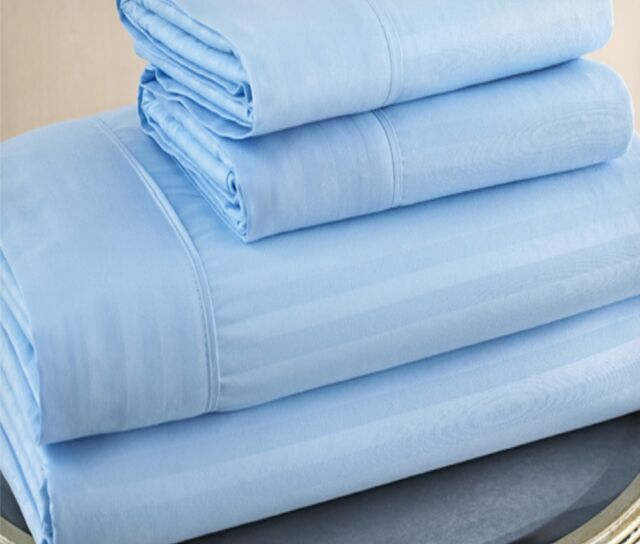 Queen Size Light Blue 500 Thread Count 100%Cotton Sateen Dobby Stripe Sheet Set