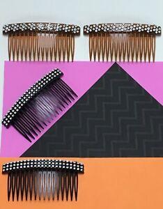 Beautiful Women/'s HAIR COMBS 4PC SET Fashion Accessory 2 Black-2 Brown New NIP