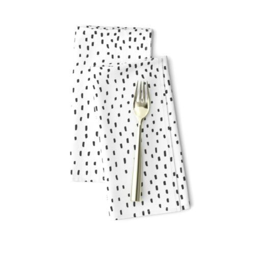 Black And White Minimalist Modern Dot Cotton Dinner Napkins by Roostery Set of 2