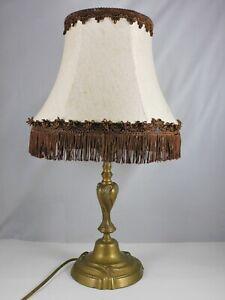 ANCIENNE-LAMPE-BOUGEOIR-EN-BRONZE-ELECTRIFIE-ABAT-JOUR-FRANGES-HAUT-44CM
