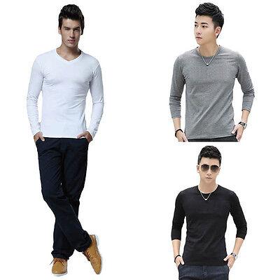 Fashion Men Slim T-Shirt Casual Fit Cotton Tops Crew Neck Long Sleeve Blouse
