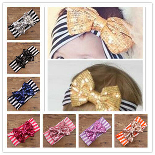 Kids Girls Toddler Baby Sequined Bow Elastic Headband Hair Band Accessories