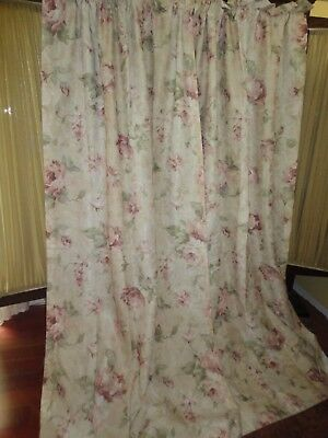 CROSCILL ANTIQUE ROSE GREEN CORAL CREAM FLORAL (PAIR) LINED PANELS 40 X 85