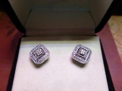 Kay Jewelers Diamond Stud Sterling Silver Earrings With Bo Euc