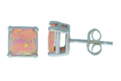Pink Opal Princess Cut Stud Earrings White Gold Silver