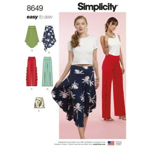 Simplicity Sewing Pattern 8649 Women's Easy to Sew Knit Skirt Trousers Shorts