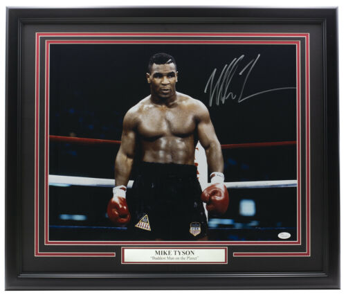 Mike Tyson Signed Framed 16x20 Boxing Stare Photo JSA ITP