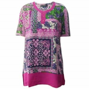 Tunic-Top-by-EVERSUN-Plus-Size-10-12-14-16-18-20-Pink-Paisley-Print