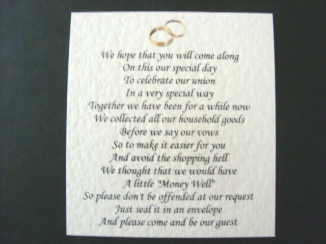 20 Wedding Poems Asking For Money Gifts Not Presents Ref No 14 Ebay