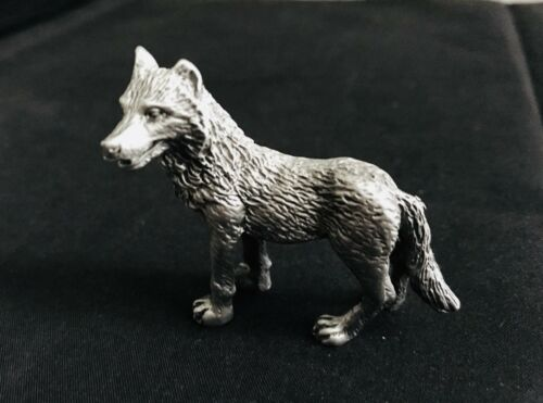 Solid Pewter Silver Coyote Dog Wild Animal Figurine Statue  nice size  2 x 2 B