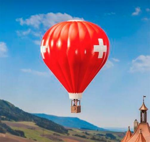 Faller 131004 - Schweizer Flagge Heißluftballon Plastik Set - Spur H0