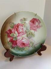 Germany 9 1/2? Porcelain Hand Painted Pink Rose Cabinet Plate Z S & Co Bavaria