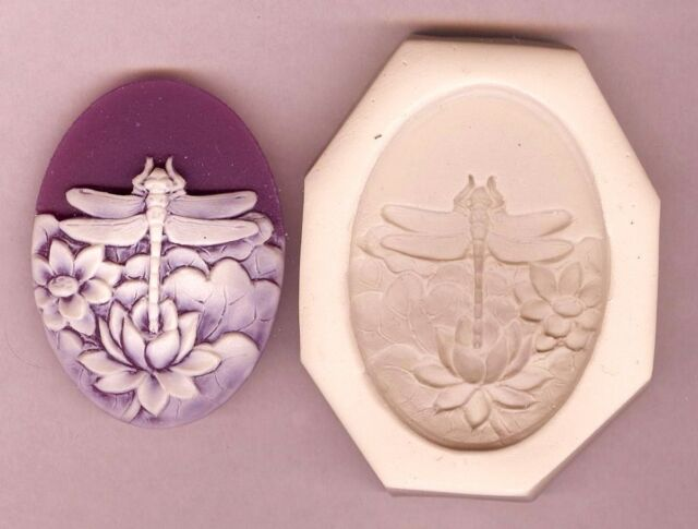 CAMEO 40x30 Dragonfly With Flowers Lily Pond Polymer Clay Push Mold #29