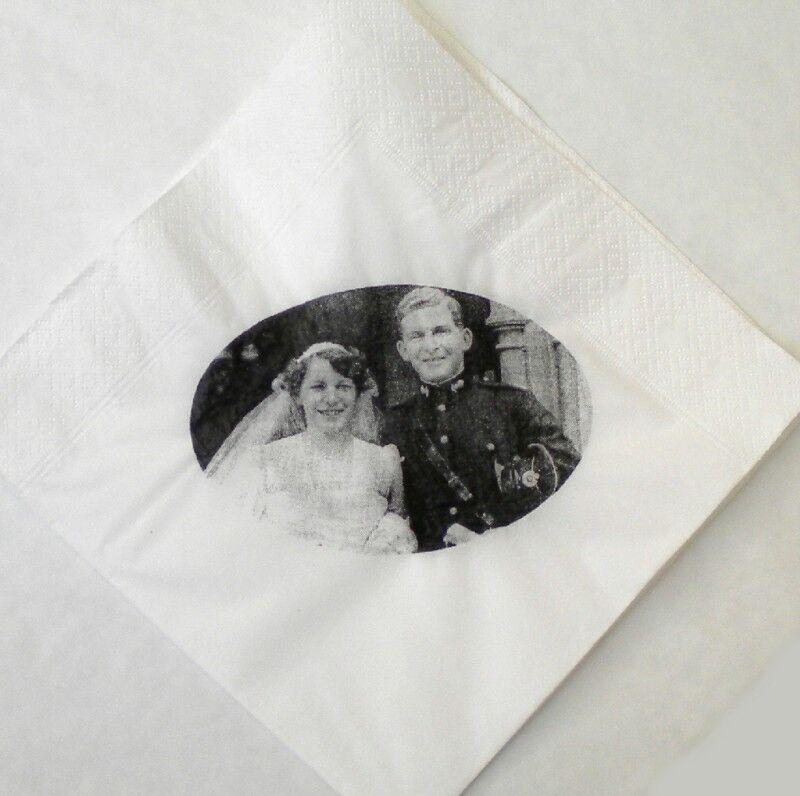 25 Luxe 3 Plis Serviettes en Papier Personnalisée Photo   Nom Marriage