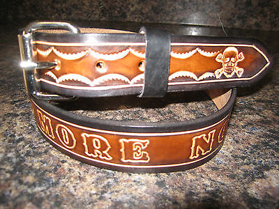 ATTACK EAGLE 1 1//2  WIDTH CUSTOM MADE GENUINE LEATHER BELT BLACK with NAME