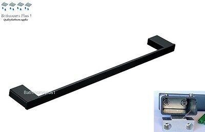 NEW 600 Square Black Matt Bathroom Accessories Single Towel Rail Hanger rack