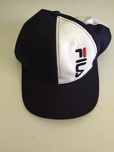 438958da70e Vintage 90s FILA Snapback Hat Cap One Size White Blue Throwback