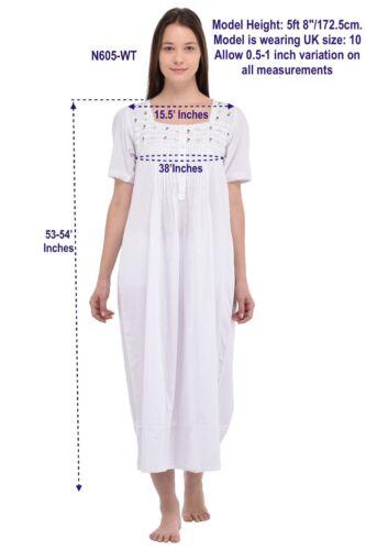 corte maniche e in in pizzo da notte cotone Camicia a bianco ricamato qIHwx7pBR