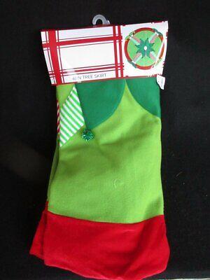 """Elf Legs 48"""" Felt Christmas Tree Skirt Green Red White Striped New   eBay"""