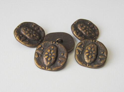 0036am 5 unrunde altmessingfarb Metall Ösen Knöpfe mit Blumen Muster
