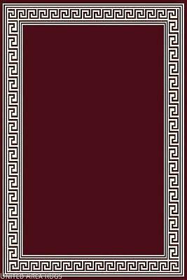 8x10 Area Rug Modern Greek Key Design Burgundy With Border