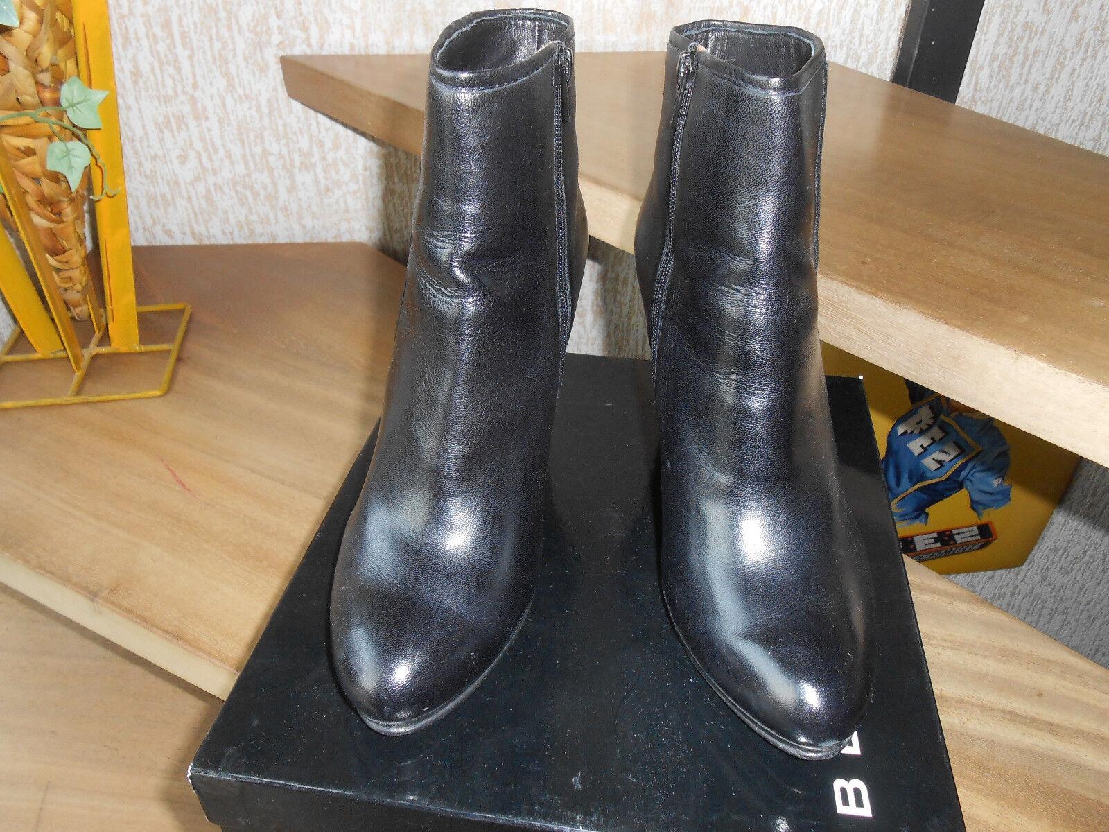 BELMONDO Damen Stiefelette Größe 41 Echt Leder, schwarz 10cm